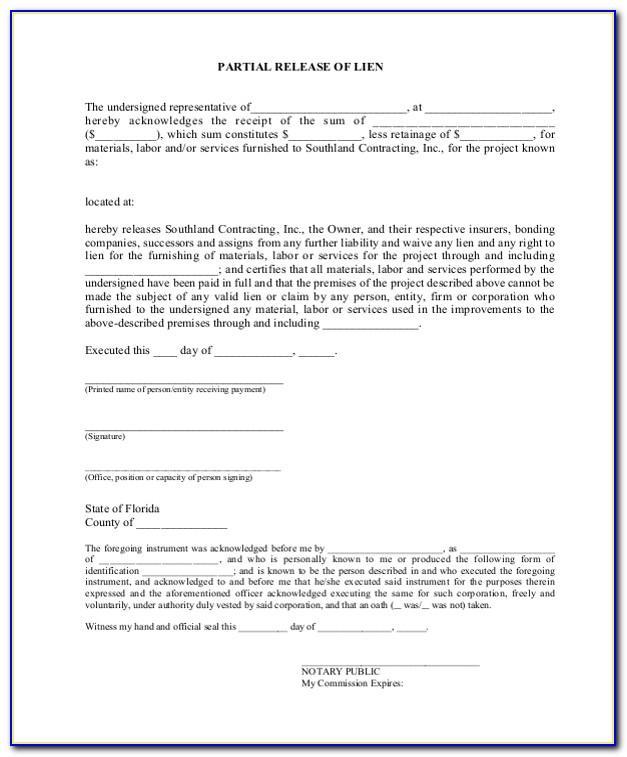 Construction Lien Release Form Florida