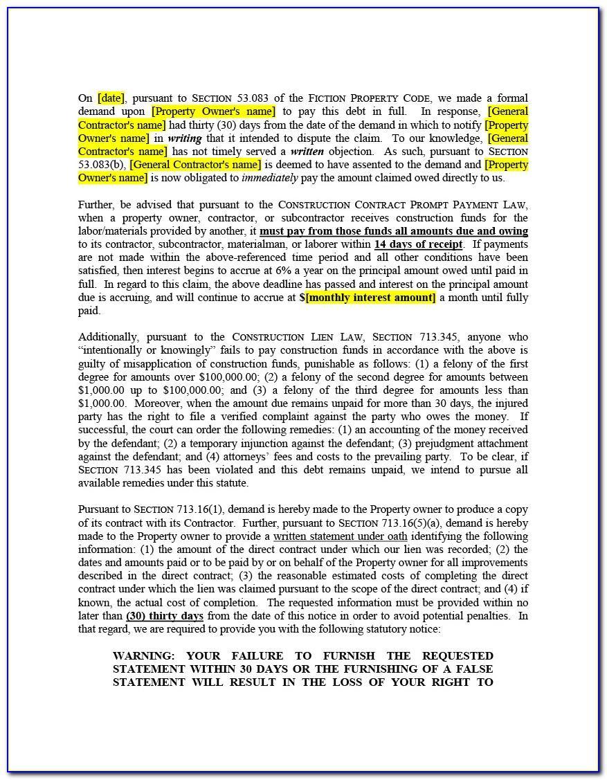 Construction Lien Release Form Texas