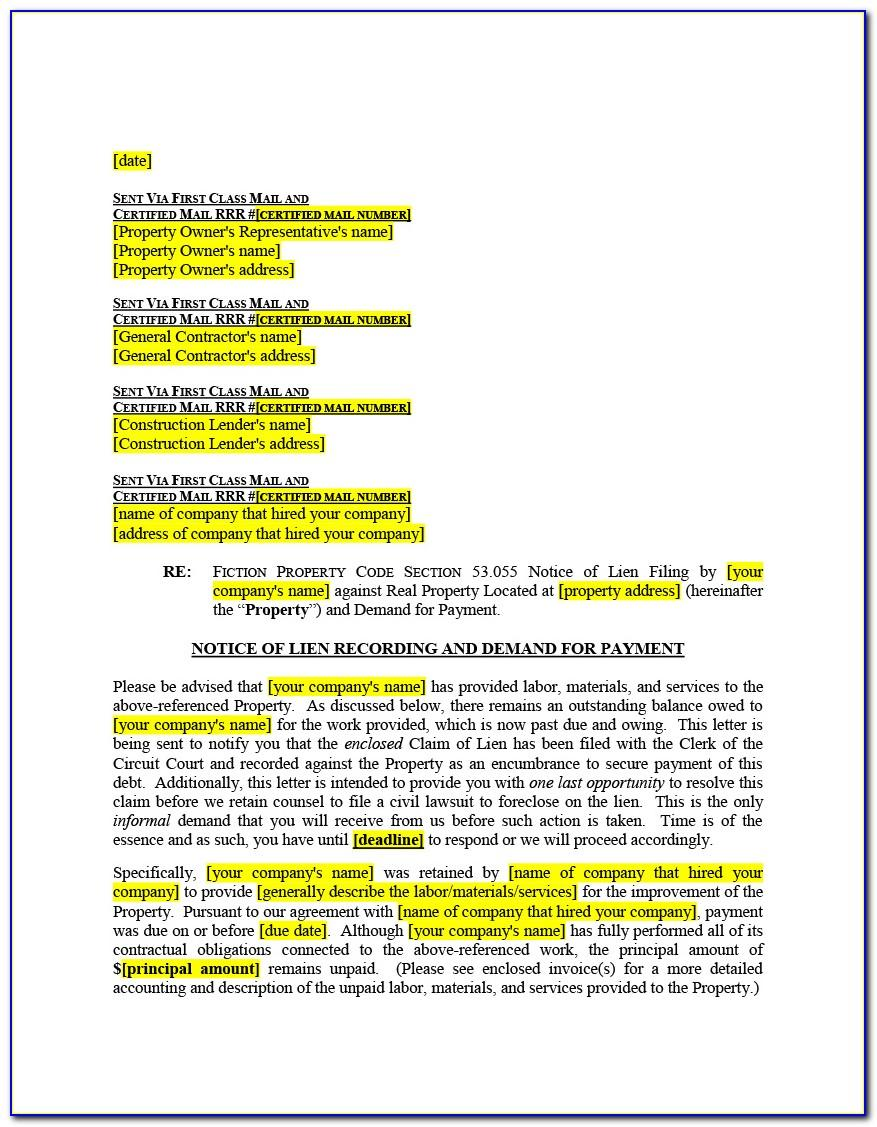 Construction Lien Release Form Virginia