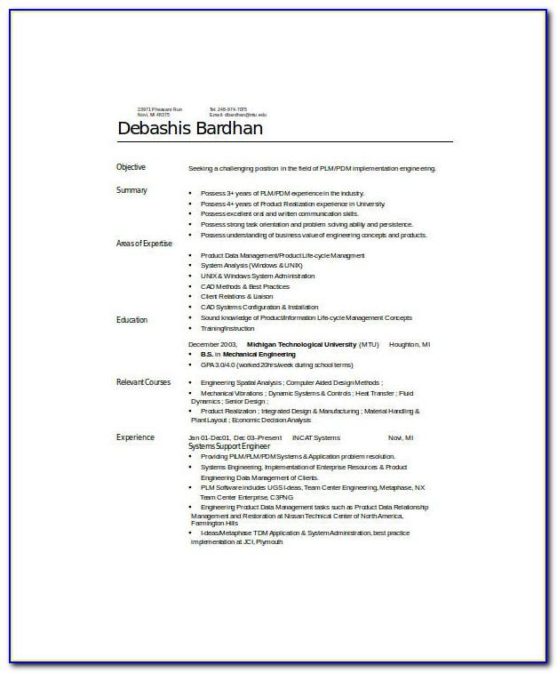 Diploma Mechanical Engineering Experience Resume Format Download