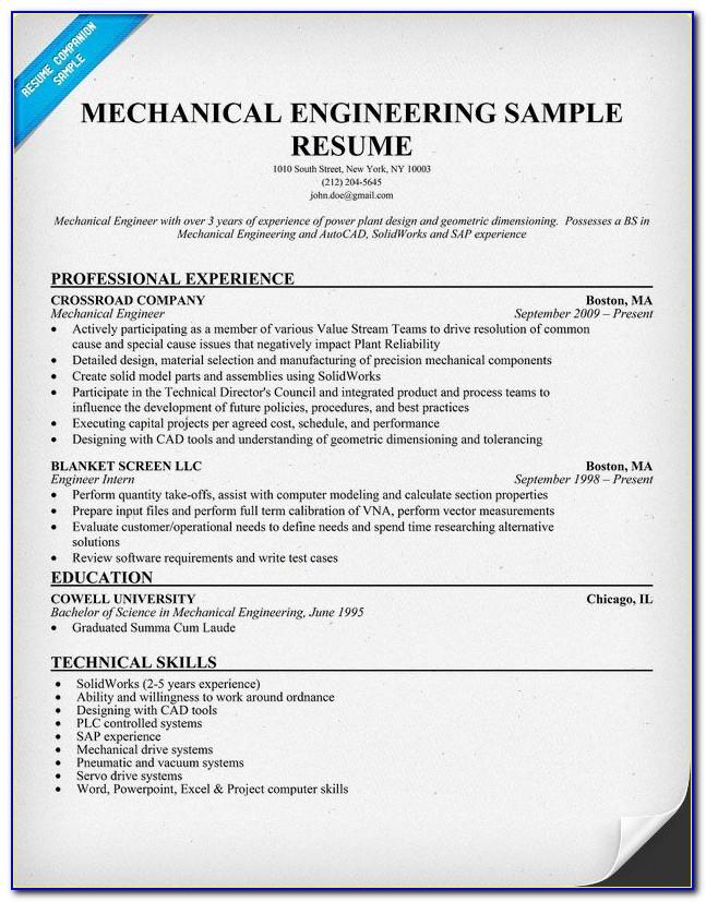 Diploma Mechanical Engineering Resume Format Download