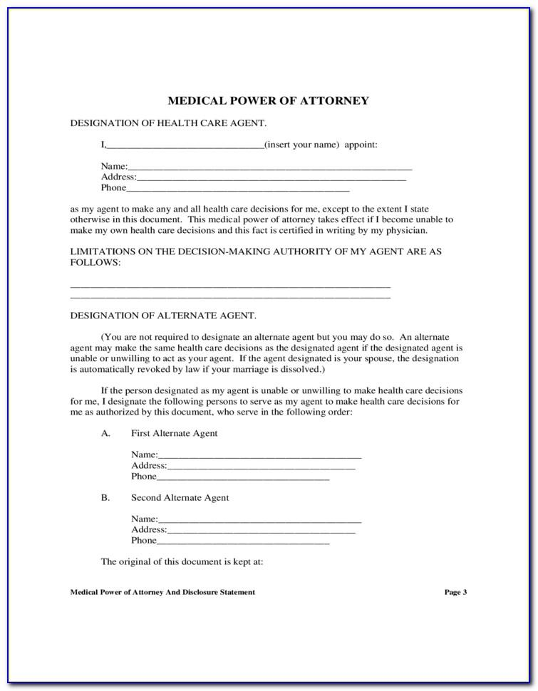 Durable Medical Power Of Attorney Texas Form