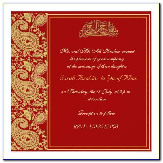 Editable Muslim Wedding Invitation Cards Templates Free Download