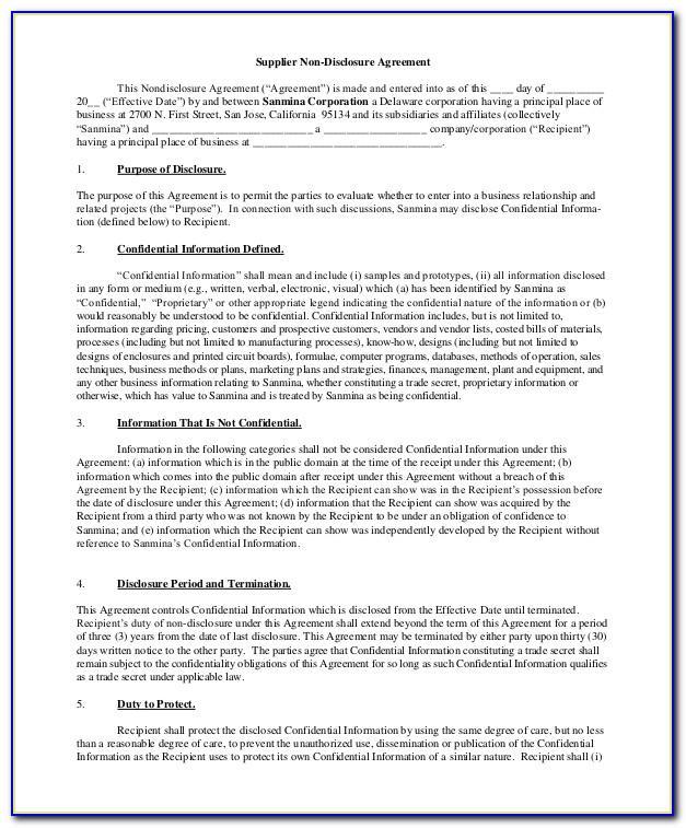 Employee Non Disclosure Agreement Template Australia