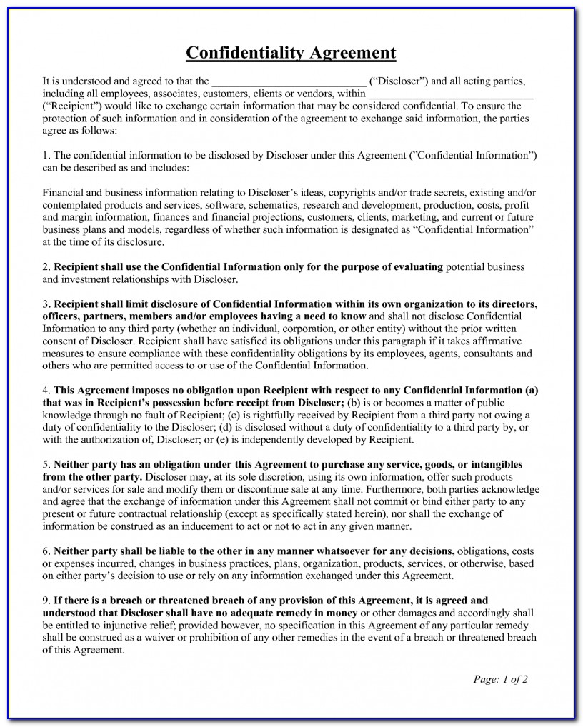 Employee Non Disclosure Agreement Template Doc