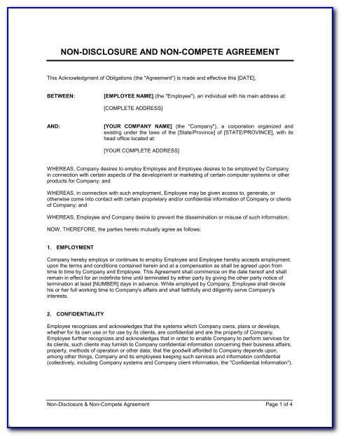 Employee Non Disclosure Non Compete Agreement Template