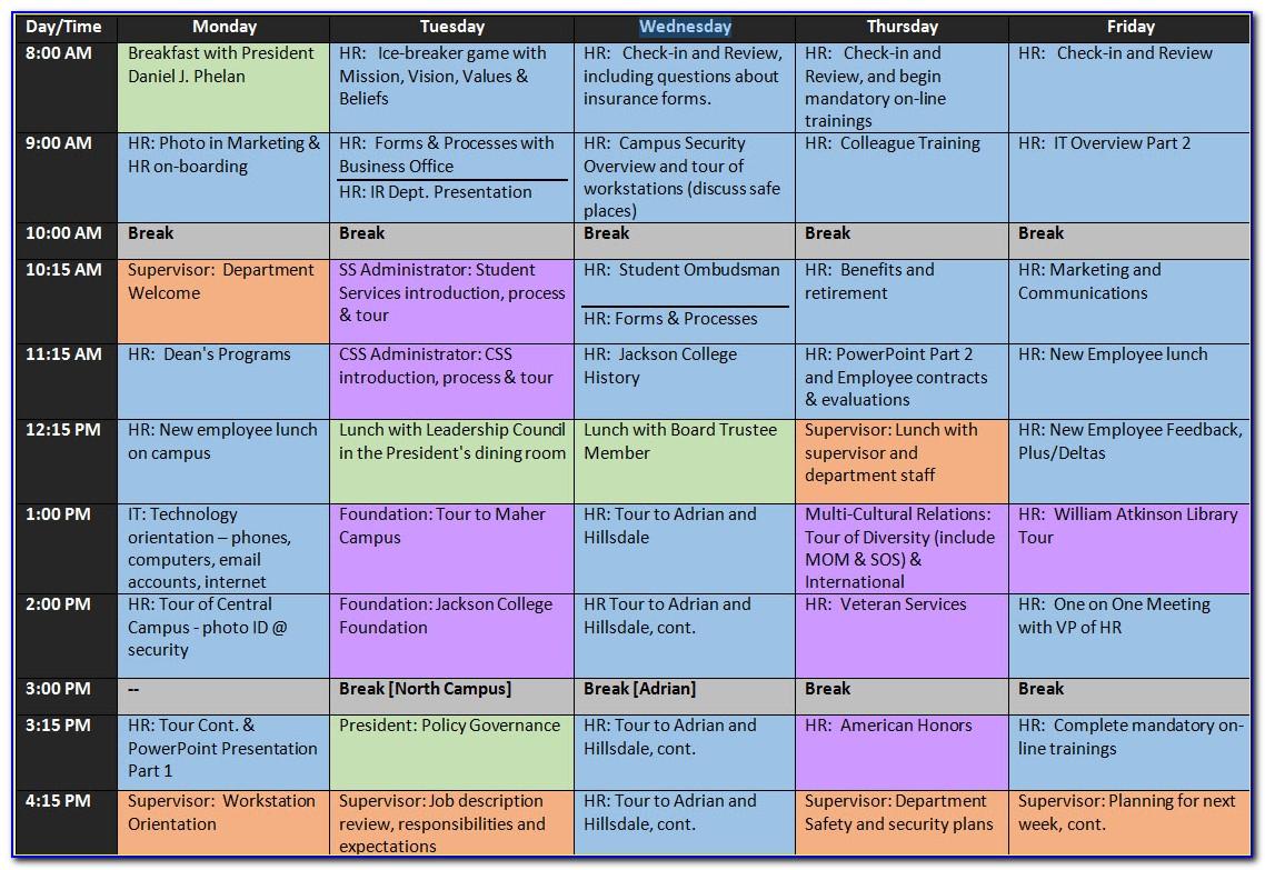 Employee Onboarding Schedule Template