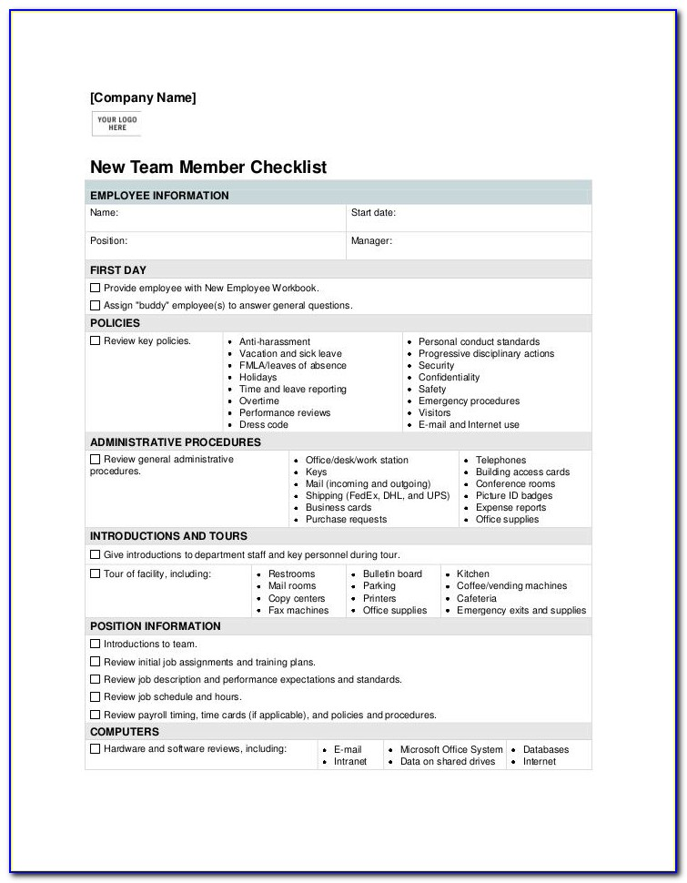 Employee Orientation Checklist Sample
