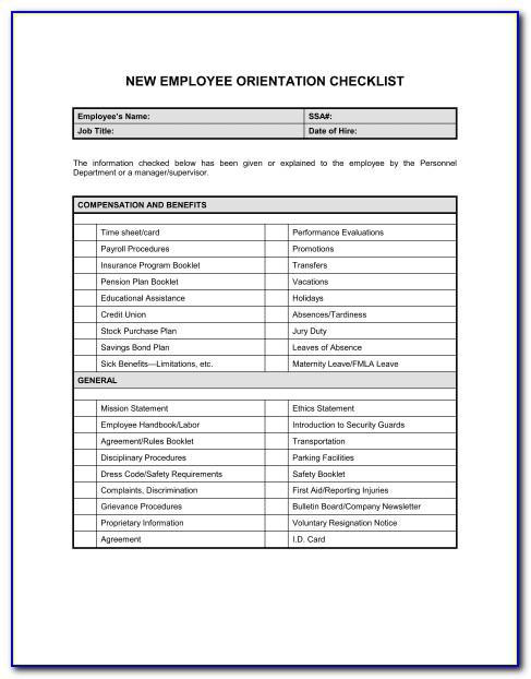 Employee Orientation Schedule Template