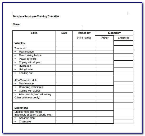 Employee Training Checklist Template Excel