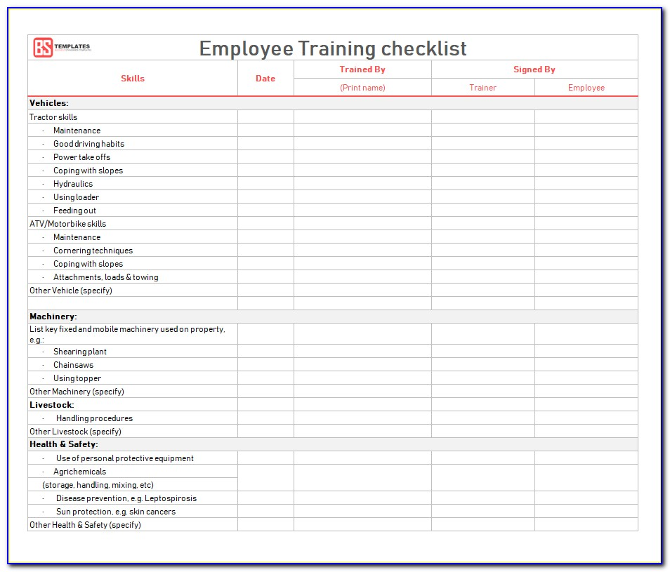 Employee Training Checklist Template Word