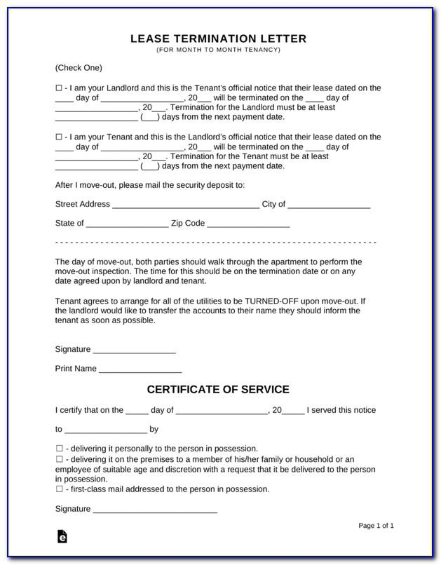Format Of Notice For Termination Of Lease Agreement By Lessee