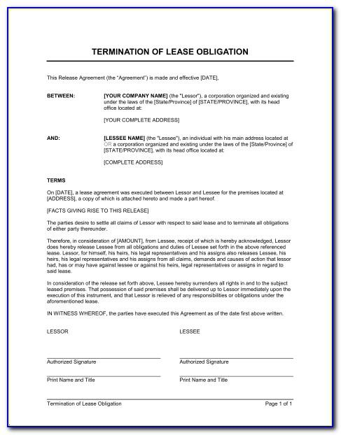 Format Of Notice For Termination Of Lease Agreement By Lessor