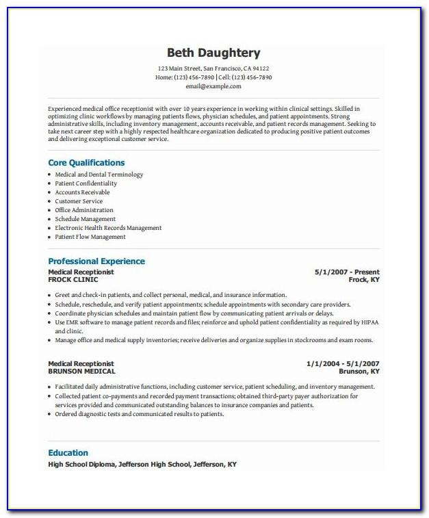Free Medical Field Resume Templates
