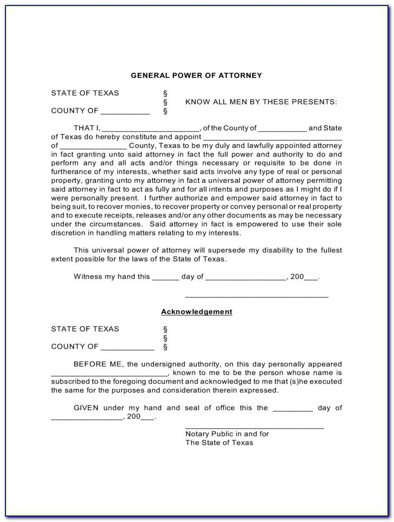 Free Medical Power Of Attorney Forms To Print Texas