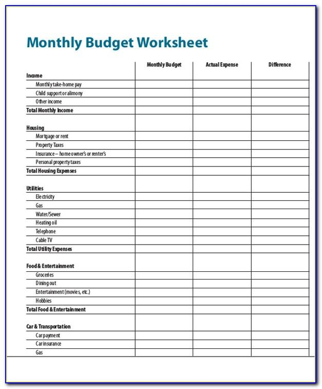 Free Monthly Household Expense Report Template
