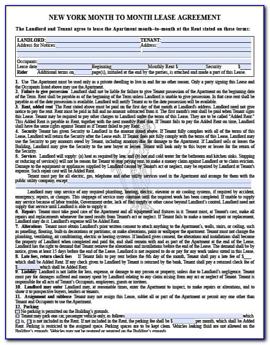 Free New York Lease Agreement Forms