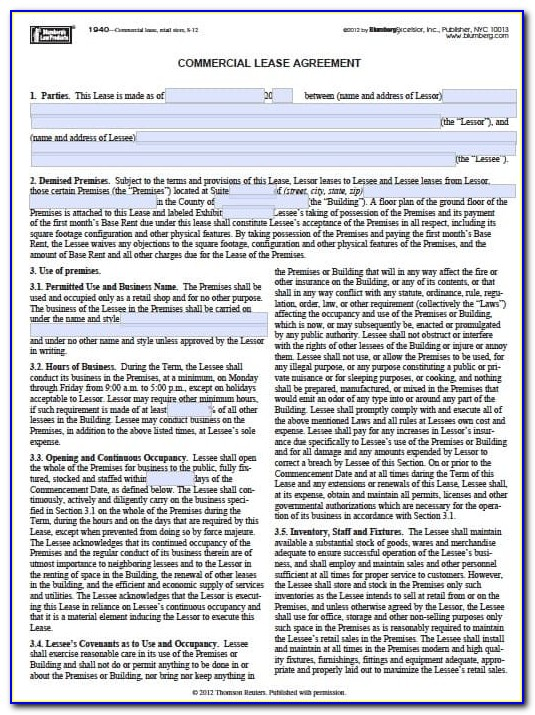 Free New York Residential Lease Agreement Form