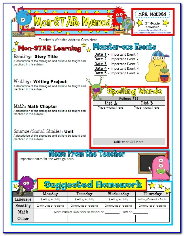 Free Newsletter Templates For Kindergarten Teachers