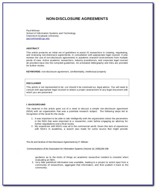 Free Non Disclosure Agreement Template Word Australia