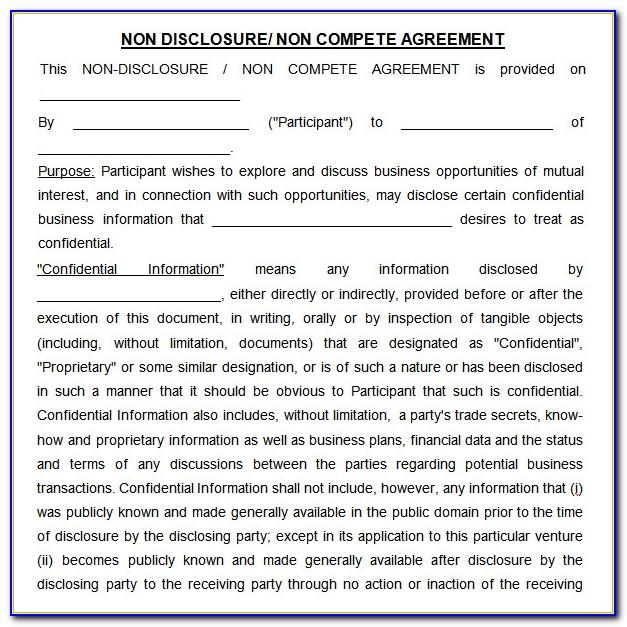 Free Non Disclosure And Non Compete Agreement Template