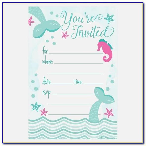 Free Printable Mermaid Birthday Invitation Templates