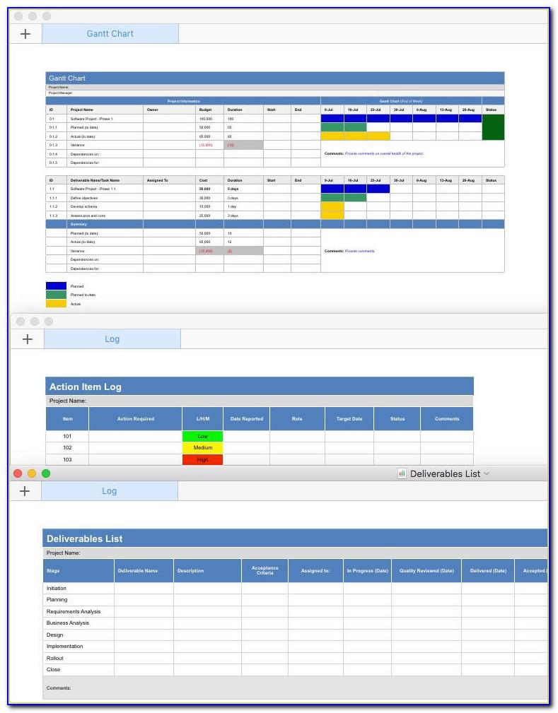 Gantt Chart Template For Numbers '09 Free Version