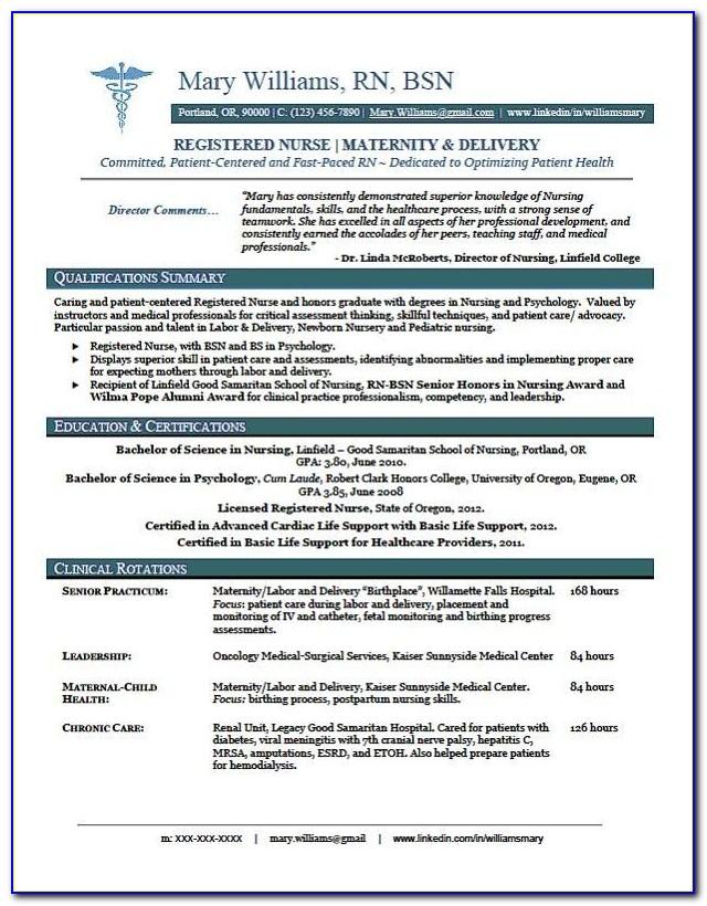 Graduate Nurse Resume Objective Examples