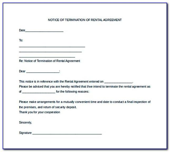 Legal Notice For Termination Of Lease Agreement