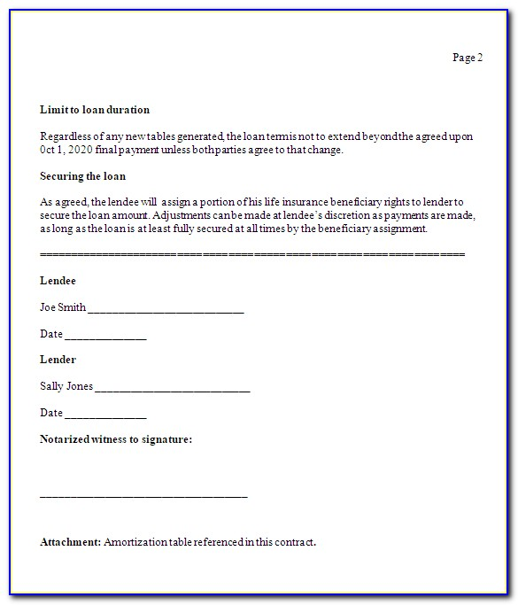 Lending Money Contract Template Free Uk