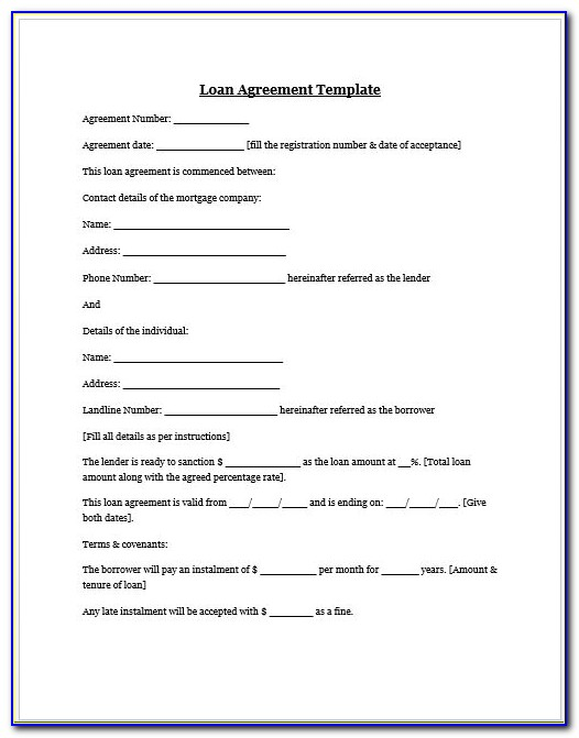 Lending Money Family Contract Template