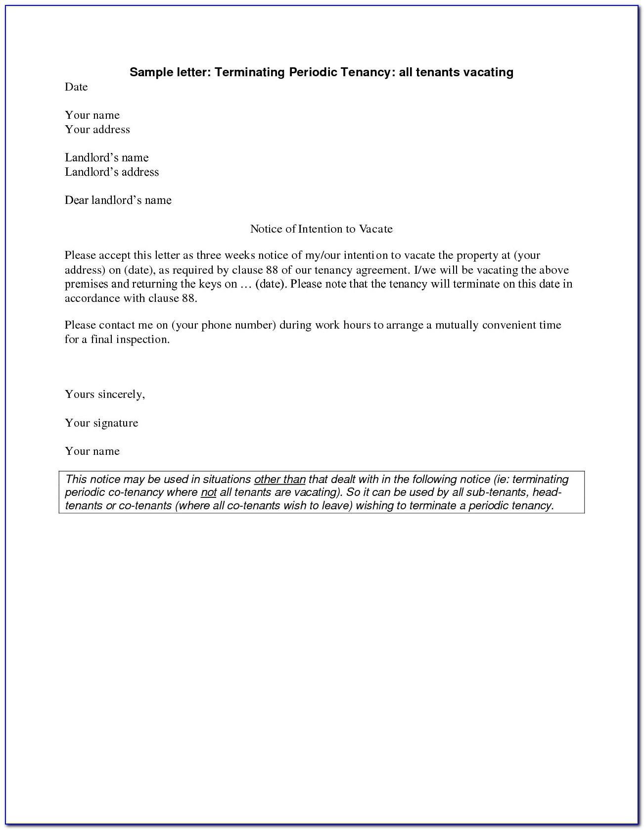 Letter Of Notice To Tenant To Vacate Uk Template