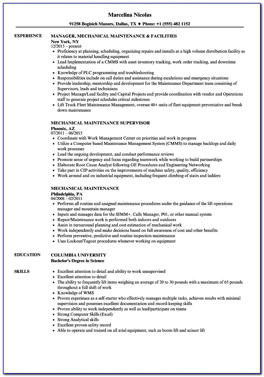 Mechanical Engineer Cv Template Free Download
