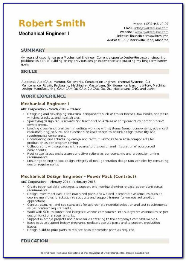 Mechanical Engineer Fresher Resume Word Format Download