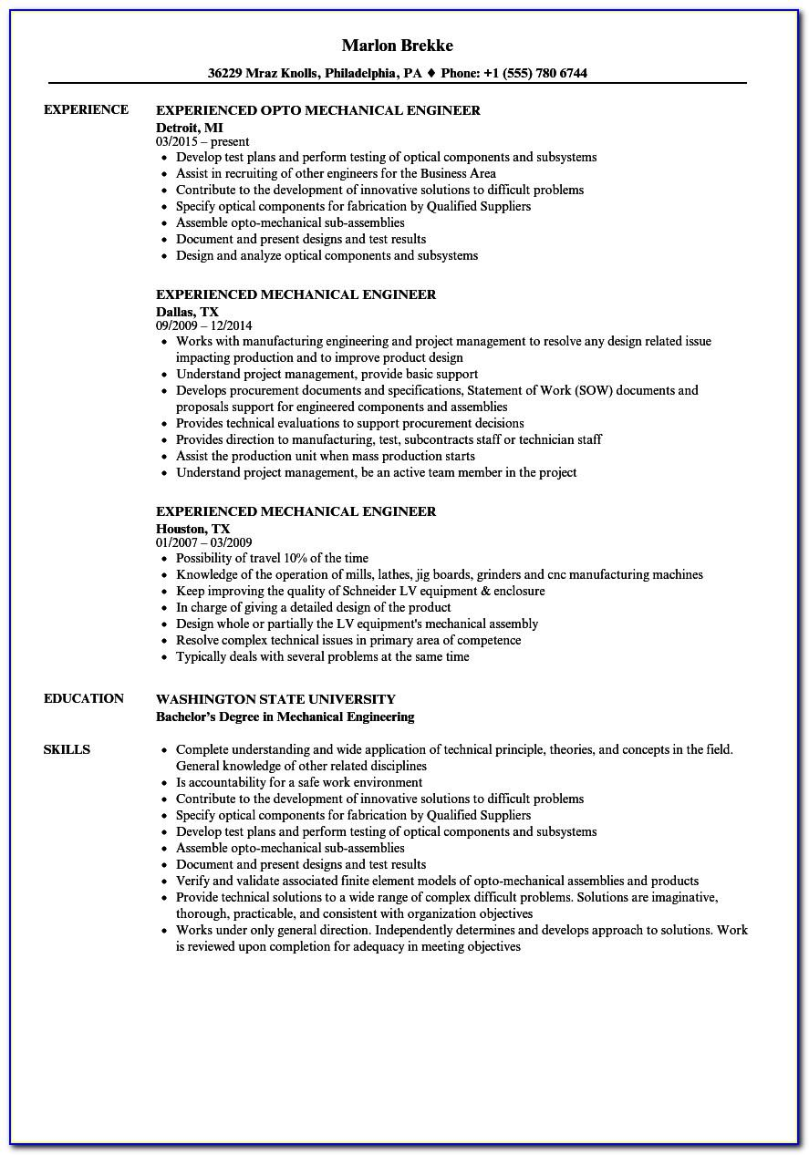 Mechanical Engineer Resume Format For Fresher Word