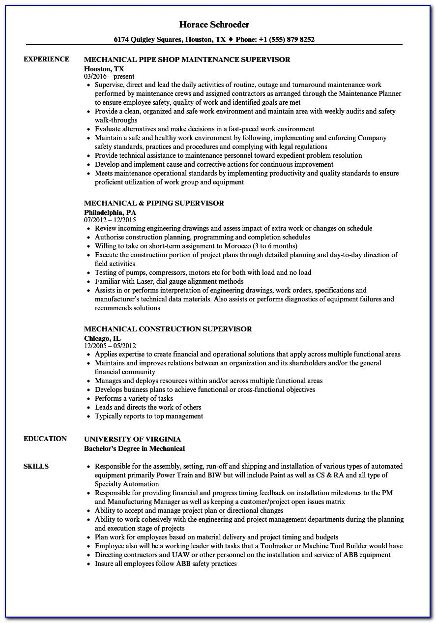 Mechanical Engineer Resume Template Free Download