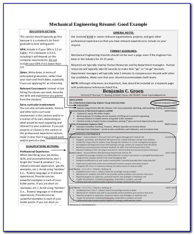 Mechanical Engineering Experience Resume Format Download