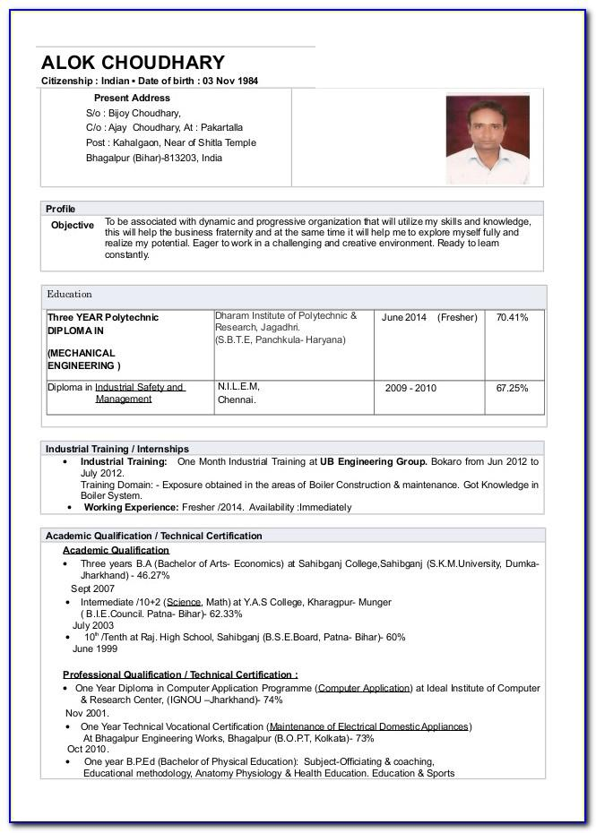 Mechanical Engineering Resume Format For Experienced Pdf
