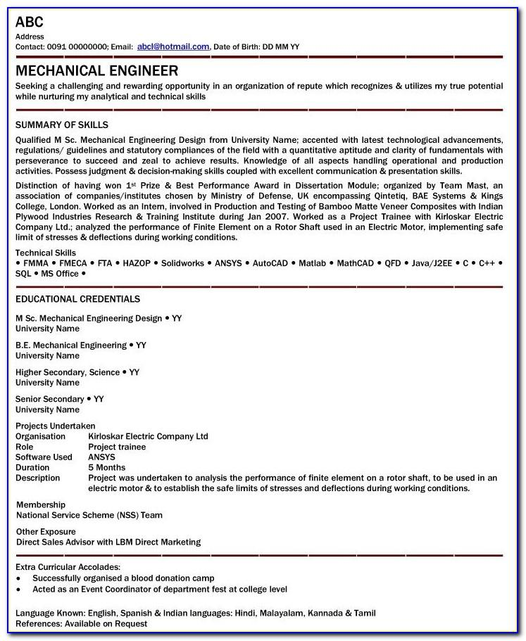 Mechanical Engineering Resume Format For Fresher Download