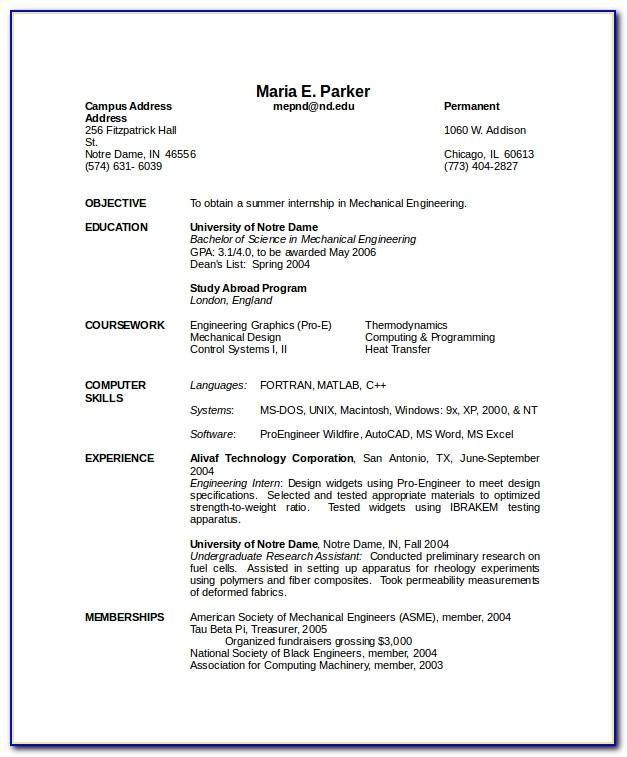 Mechanical Engineering Resume Format For Fresher Pdf