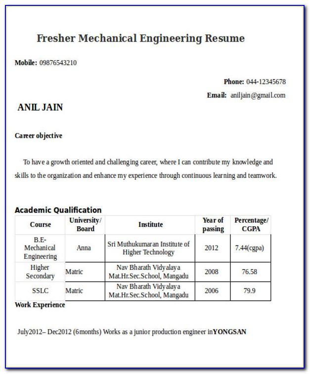 Mechanical Engineering Resume Samples Doc
