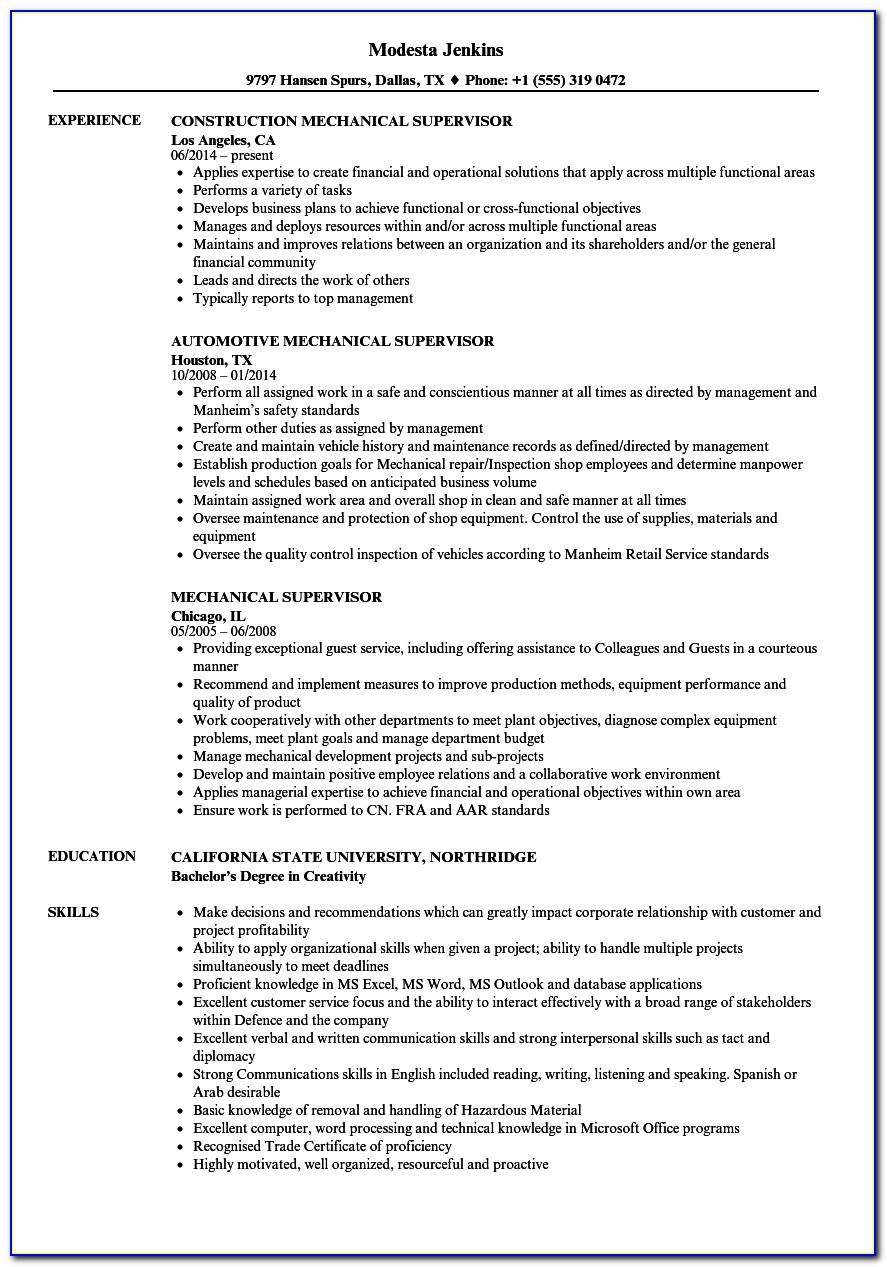 Mechanical Engineering Resume Templates Download