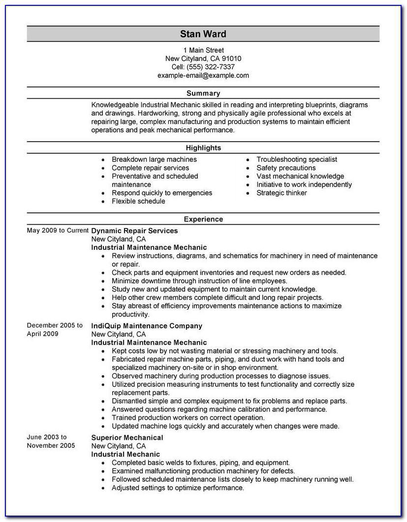 Mechanical Maintenance Supervisor Resume Sample