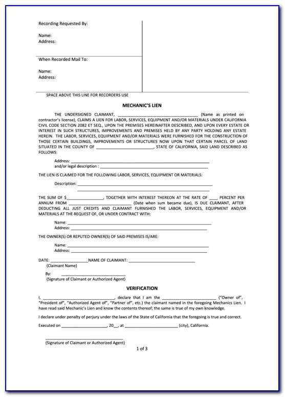 Mechanic's Lien Form Minnesota