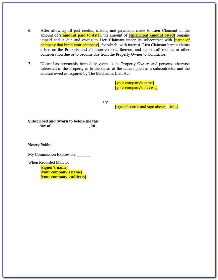 Mechanic's Lien Release Form Virginia