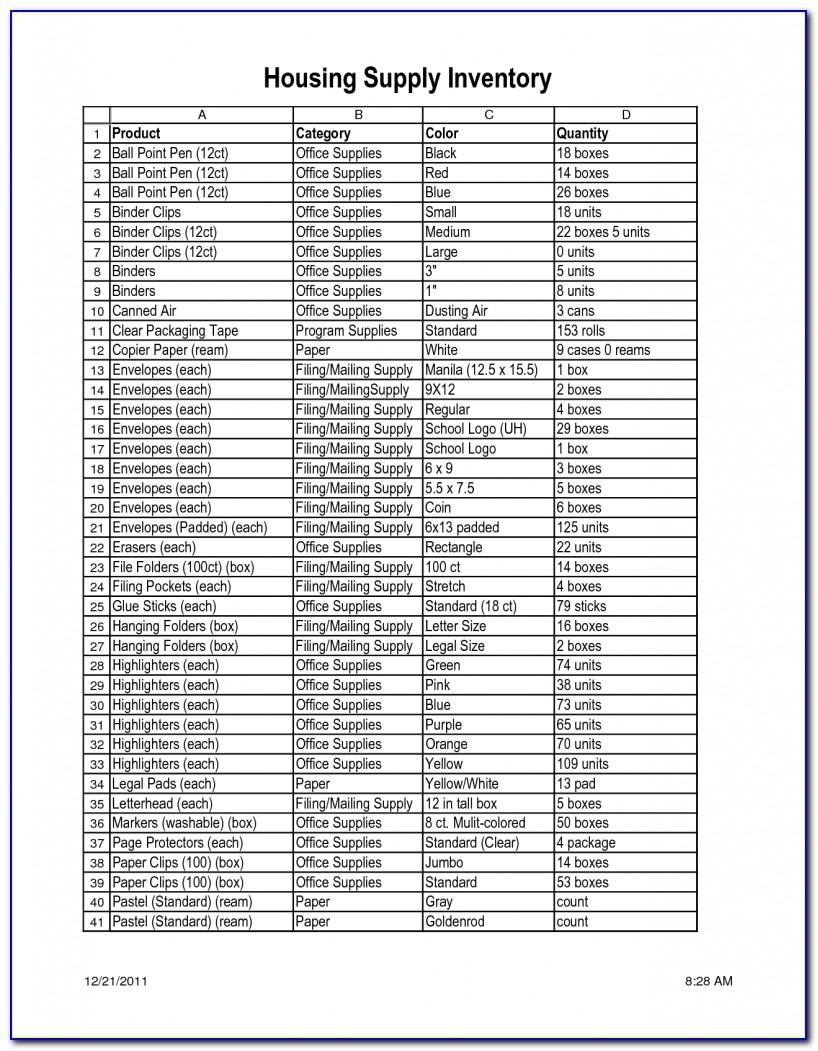 Medical Office Supply List Template