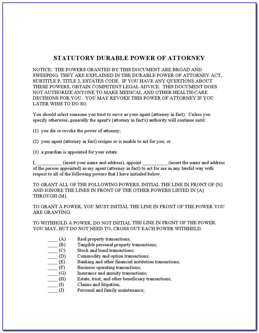 Medical Power Of Attorney Free Forms