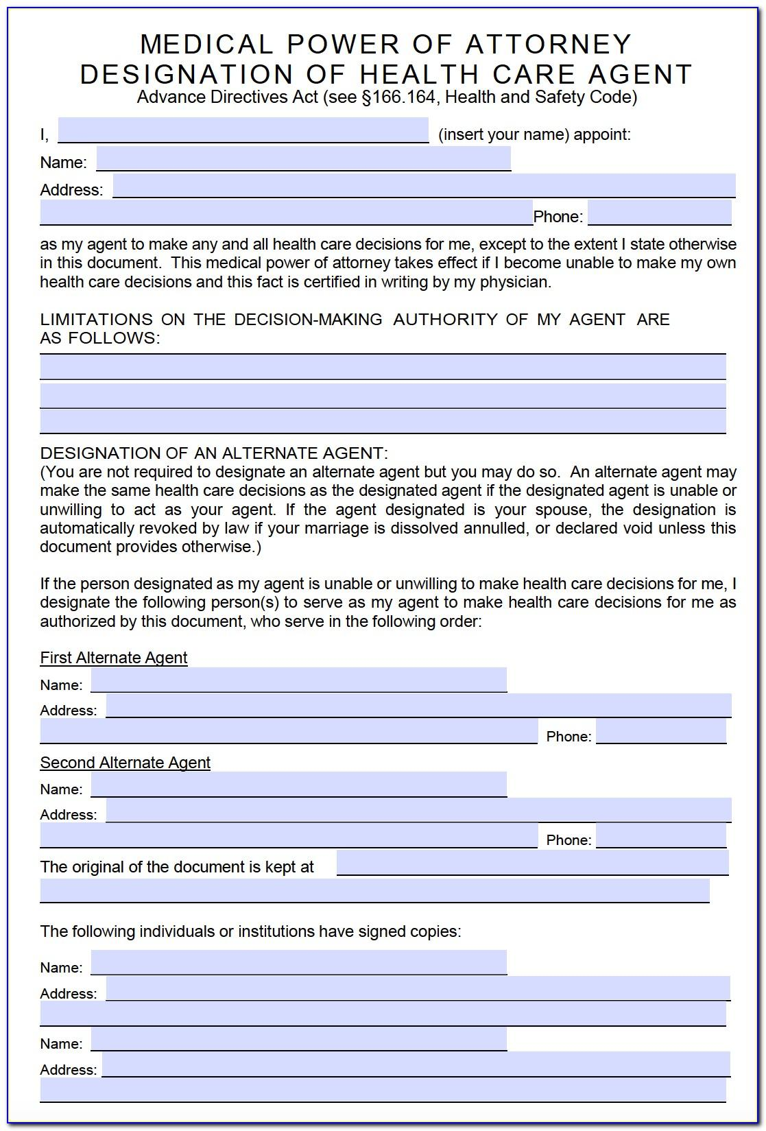 Medical Power Of Attorney Texas Form Free