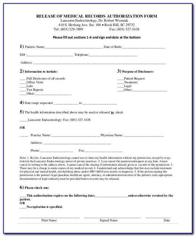Medical Records Authorization Form Template