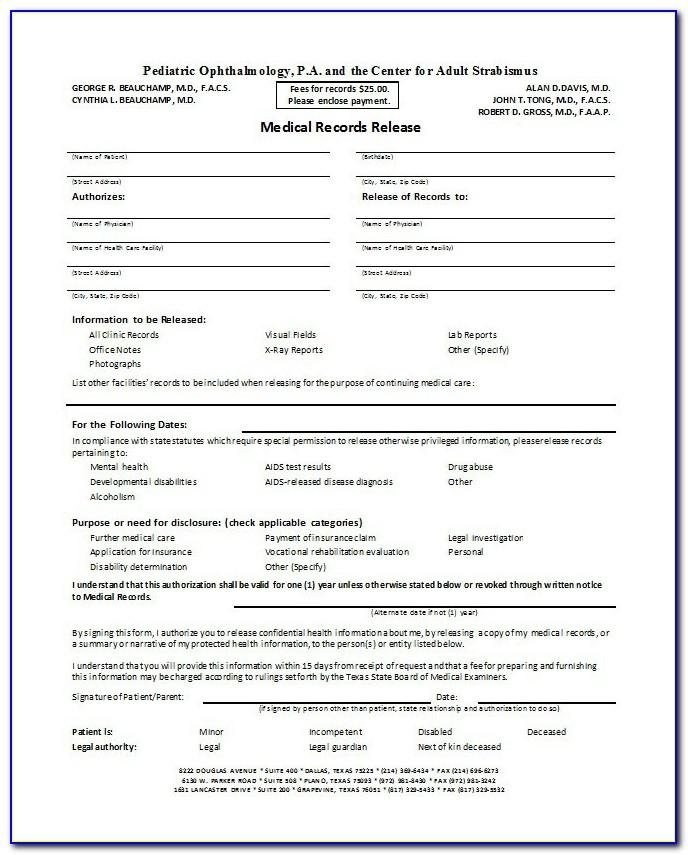 Medical Records Request Form Sample
